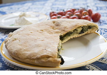 sicilian focaccia bread filled with vegetable - focaccia...