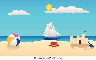 Beach Scene - Summer at the beach with a crab, beach ball,...