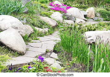 Garden Design with Rocks and Flowers (2)