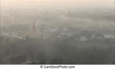 myanmar - Time lapse top view in beautiful countryside in...