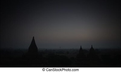 myanmar - Time lapse twilight at sunset morning in Bagan...