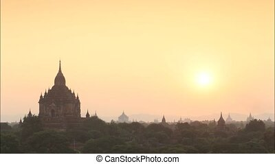 myanmar - Time lapse of Ancient pagoda view of Bagan Myanmar