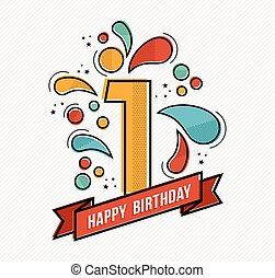 Colorful happy birthday number 1 flat line design - Happy...