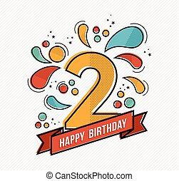Colorful happy birthday number 2 flat line design