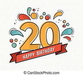 Colorful happy birthday number 20 flat line design - Happy...