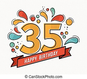 Colorful happy birthday number 35 flat line design - Happy...