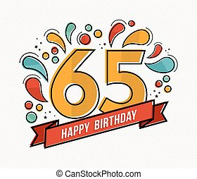 Colorful happy birthday number 65 flat line design - Happy...