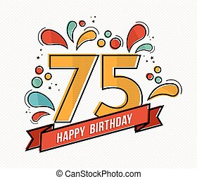 Colorful happy birthday number 75 flat line design - Happy...