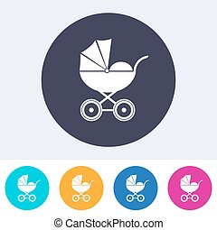 Vector baby carriage icon on round colorful buttons