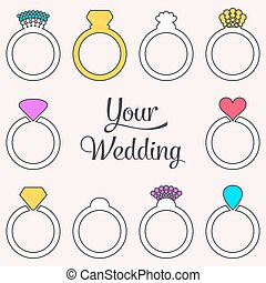 Card with engagement or wedding rings - Vector colorful card...