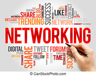 Networking word cloud, business concept