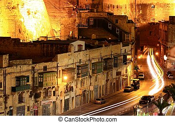 street scene Malta at night