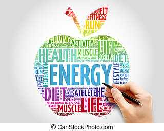 Energy apple word cloud concept