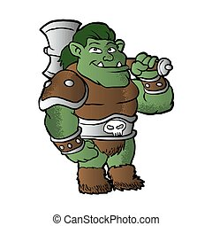 orc in armor - A cartoon illustration of a muscular orc in...