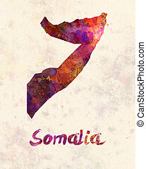 Somalia in watercolor