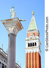 Campanile and StTeodoro on column in Venice, Italy