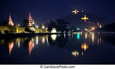 mandalay - Mandalay, Myanmar at Mandalay Hill and the palace...