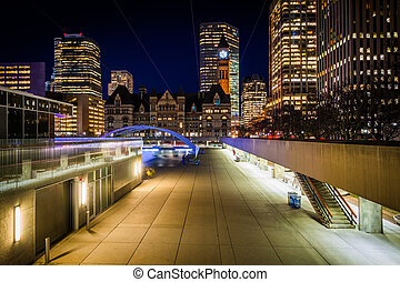 View of Nathan Phillips Square and buildings in downtown at...