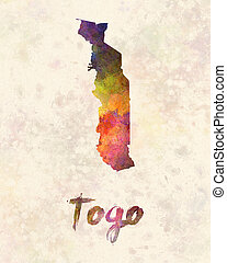Togo in watercolor