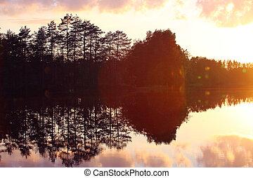 Beautiful sunset on lake