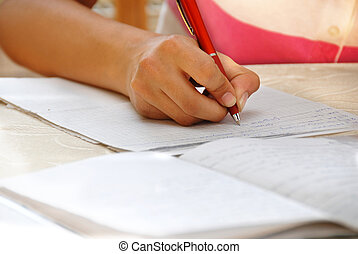 colegiala, ella, deberes