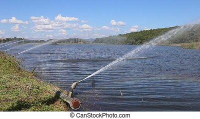 sprinkle - Sprinkle at lake with rainbow