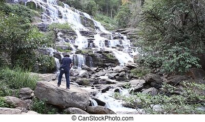 water - Mae Ya waterfall at Doi Inthanon National Park,...