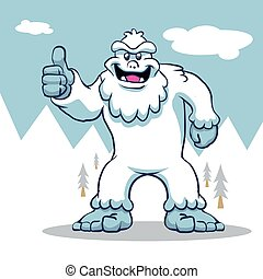 Blue yeti.funny yeti.yeti illustration