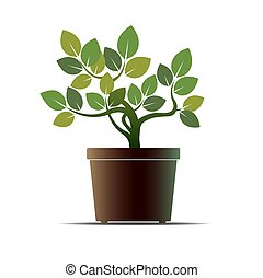 Green Flower and Pot. Vector Illustration.