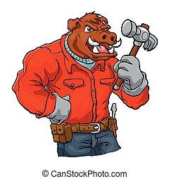 Boar cartoon mascot.handyman cartoon illustration