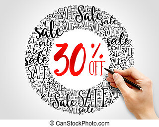 30% OFF Sale words cloud, business concept background
