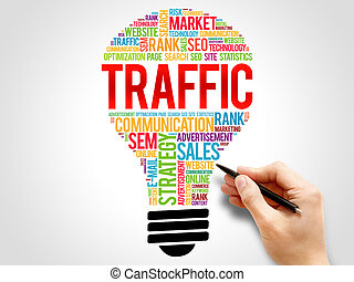 TRAFFIC bulb word cloud, business concept