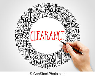 Clearance sale words cloud, business concept background