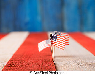 4th july concept, USA mini flags and USa colors in the...