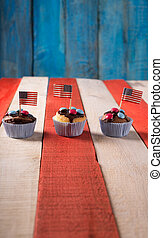 4th july - Freshly baked cupcake with a 4th of July theme