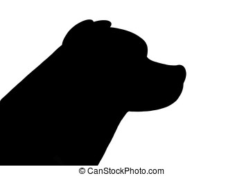 dog face - illustration, silhouette of dog face isolated on...