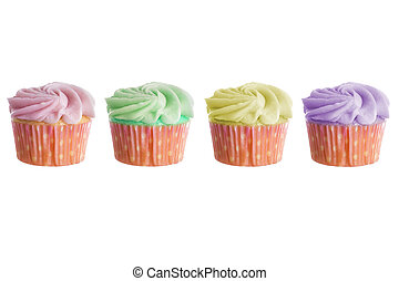 Colorful Cupcakes - Colorful cupcake with thick frosting or...