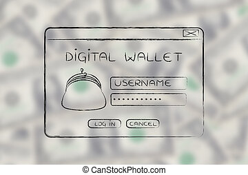 pop-up digital wallet with coin purse and login - digital...