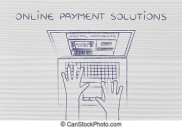 automatic teller machine inside laptop, online payment...
