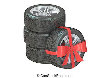 Gift set of wheels wrapped ribbon and bow, 3D rendering...