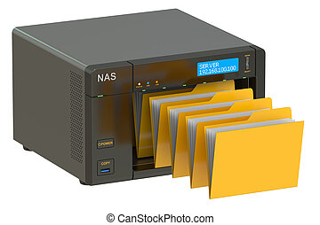 NAS, concept of data storage 3D rendering isolated on white...