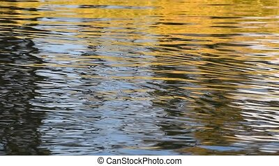 Pan of running yellow and blue ripples on water - Colorful...
