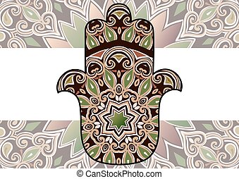 ethnic hamsa background - Card with a pattern in ethnic...