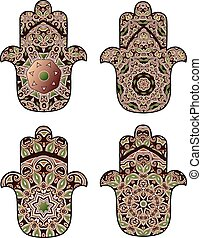 maroon-brown hamsa - Set of four hamsot in dark burgundy and...