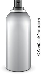 Gray Aerosol Spray Metal 3D Bottle Can Paint, Graffiti, Deodorant. Mock Up Template Ready For Your Design. Vector EPS10