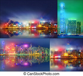 Collage of Financial district, Hong Kong