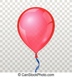Realistic red balloon on transparent checkered background. Vector illustration