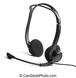Headphones with microphone isolated on white