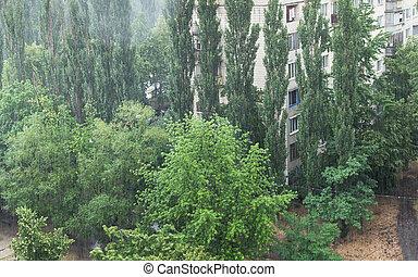Heavy rain in the city - Heavy rain across from green trees...