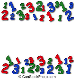 Number Border - Colourful numbers making a border on a white...
